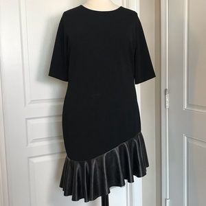 ASOS BLACK ASYMMETRICAL RUFFLE SHORT SLEEVE DRESS